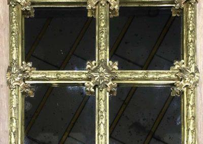 Prototype de miroir au mercure à petits bois en bronze de style Louis XVI