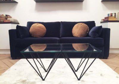 Table basse en acier laqué