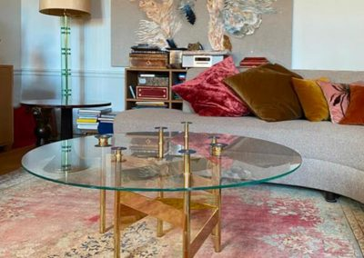 Table basse Constellation en laiton poli miroir
